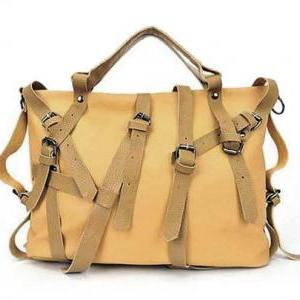 Beige Leather Handbag, Buc..