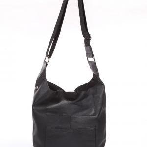 Black Leather Messenger, Tote Bag, ..
