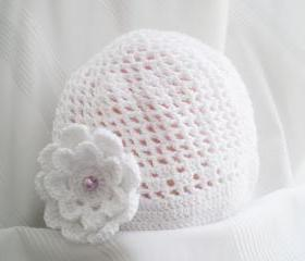 Excuisite White Cotton Baby Hat