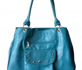 Teal Blue Leatherette Handbag, Purse, Hobo