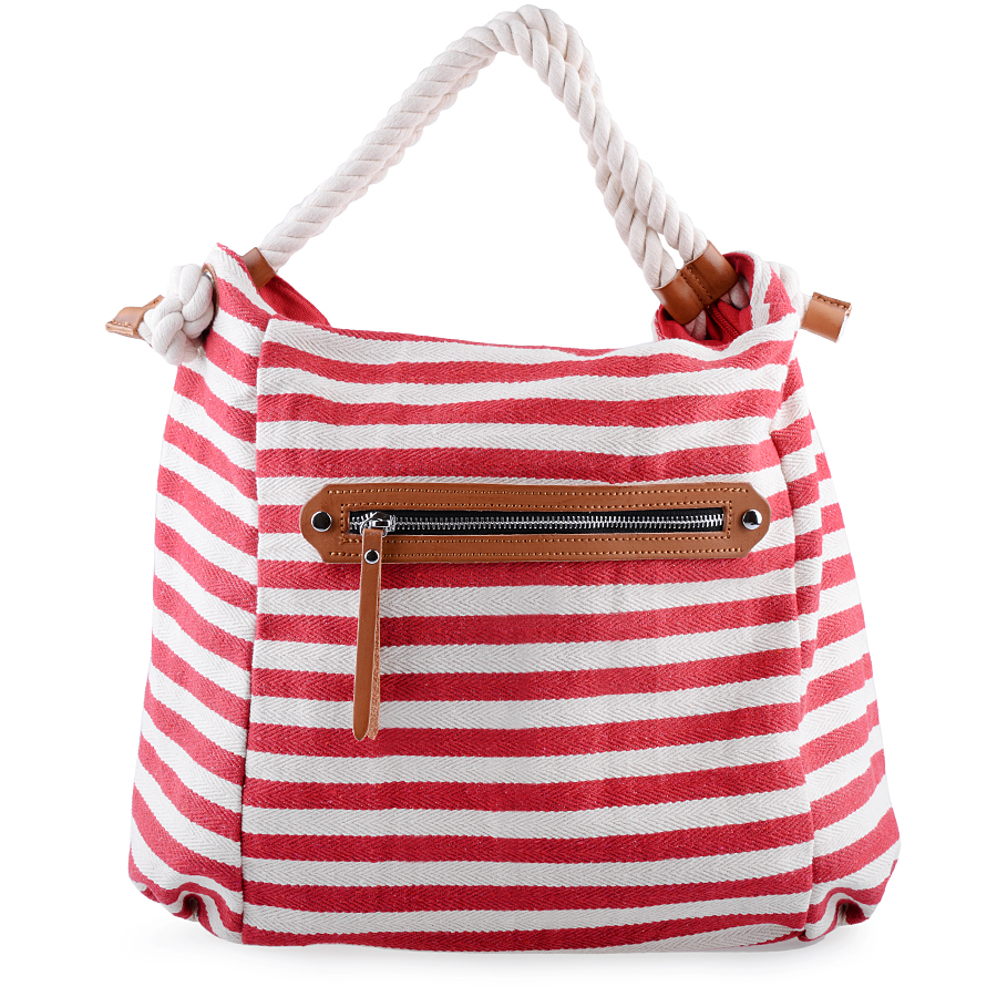 Striped Canvas Tote. Red and White Bag