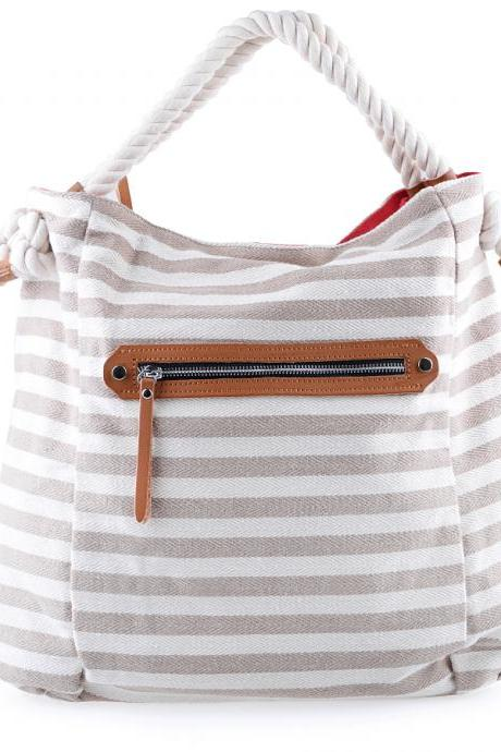 Striped Canvas Tote. Beige and White Bag
