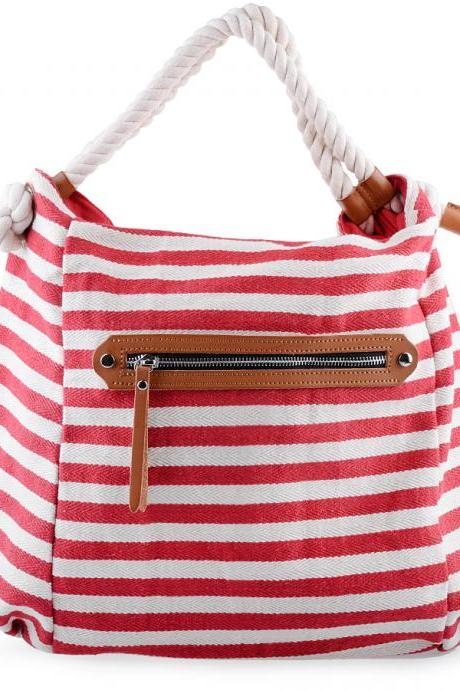 Canvas Tote Bag. Striped Red and White Canvas Handbag. Woman Handbag. Canvas Beach Bag