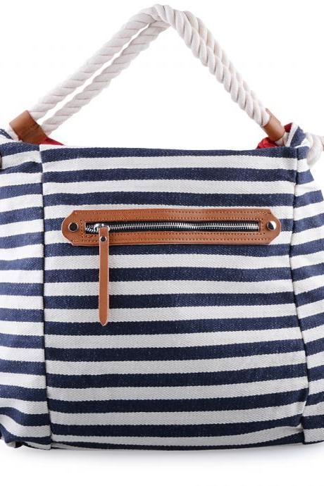 Striped Canvas Tote. Dark Blue and White