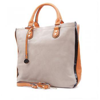 Beige Leather Tote with Zippers, Laptop Bag, Beige Handbag, Leather Handbag, Leather Laptop Bag